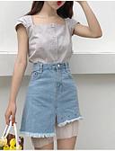 tanie Bluzka-Bluzka Damskie Vintage, Frędzel Bawełna Solidne kolory / Pepitka Bufka Czarno-biały