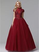 זול שמלות לילדות פרחים-נשף צווארון גבוה עד הריצפה סאטן / טול בהשפעת וינטאג' נשף רקודים / ערב רישמי שמלה עם חרוזים / אפליקציות על ידי TS Couture®