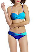 tanie Bikini i odzież kąpielowa 2017-Damskie Pasek Bikini Kolorowy blok Dół typu Cheeky