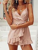 preiswerte Abendkleider-Damen Alltag Grundlegend V-Ausschnitt Rosa Breites Bein Jumpsuit, Solide M L XL Ärmellos / Sexy