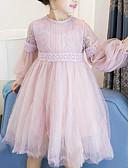رخيصةأون ملابس الأميرات-فستان كم طويل شبكة بقع مناسب للخارج حلو للفتيات أطفال