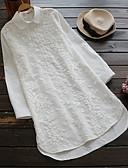 tanie Koszula-Koszula Damskie Vintage / Podstawowy Bawełna Kołnierzyk koszuli Solidne kolory
