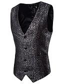 cheap Men's Blazers & Suits-Men's Street chic Punk & Gothic Vest-Floral,Jacquard