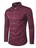cheap Wedding Dresses-Men's Work Shirt - Solid Colored / Long Sleeve