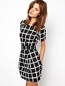 זול שמלות נשים-מעל הברך דפוס, משובץ דמקה - שמלה צינור בסיסי בגדי ריקוד נשים