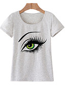 cheap Women's T-shirts-Women's Going out Basic Cotton T-shirt - Portrait Print Light Green L