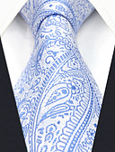 abordables Corbatas y Pajaritas para Hombre-Hombre Corbata - Trabajo / Básico Cachemir / Jacquard Azul y Blanco