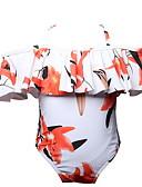 billige Badetøj til piger-Baby Pige Strand Blomstret Trykt mønster Polyester Nylon Badetøj Hvid