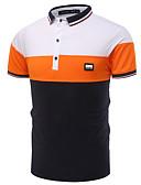 baratos Camisetas & Regatas Masculinas-Homens Polo - Trabalho Estampa Colorida Colarinho de Camisa / Manga Curta