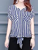 ieftine Bluză-Pentru femei În V Bluză Dungi / Bloc Culoare