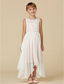cheap Flower Girl Dresses-A-Line Ankle Length Flower Girl Dress - Chiffon / Lace Sleeveless Scoop Neck with Lace by LAN TING BRIDE®