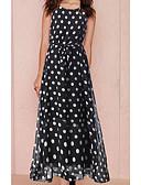 baratos Vestidos Estampados-Mulheres Delgado Calças Cintura Alta Preto / Longo