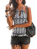 cheap Party Dresses-Women's Cotton Slim T-shirt - Geometric Print Halter Neck / Summer