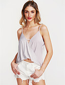 cheap Women's Tanks-Women's Street chic Loose Tank Top - Solid Colored V Neck