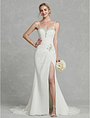 cheap Wedding Dresses-Sheath / Column Sweetheart Neckline Court Train Chiffon Made-To-Measure Wedding Dresses with Beading / Split Front by LAN TING BRIDE®