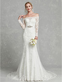 cheap Romantic Lace Dresses-Mermaid / Trumpet Off Shoulder Court Train Lace / Tulle Made-To-Measure Wedding Dresses with Appliques / Crystals / Sashes / Ribbons by LAN TING BRIDE® / Illusion Sleeve / Beautiful Back