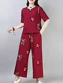 povoljno Ženske haljine-Žene Veći konfekcijski brojevi Puff rukav  Pamuk Osnovni Set - Jednobojni, Drapirano Hlače