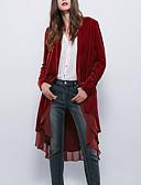 ieftine Rochii Damă-Pentru femei Zilnic Vintage Regular Palton, Mată Rotund Manșon Lung Bumbac / In / Acrilic Franjuri Gri / Roșu Vin / Kaki M / L / XL