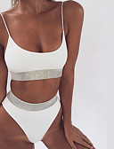 cheap Women's Swimwear & Bikinis-Women's Basic Plunging Neck White Black Red Bandeau Thong Bikini Swimwear - Solid Colored Backless S M L / Sexy