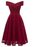 tanie Romantyczna koronka-Damskie Impreza / Wyjściowe Vintage Szczupła Pochwa Sukienka - Solidne kolory, Koronka Łódeczka Do kolan / Seksowny