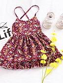 Χαμηλού Κόστους Βρεφικά φορέματα-Μωρό Κοριτσίστικα Βασικό Μονόχρωμο Αμάνικο Πολυεστέρας Φόρεμα Ρουμπίνι / Νήπιο