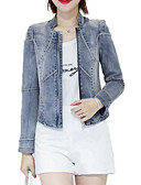 baratos Vestidos de Mulher-Mulheres Jaqueta jeans Básico - Sólido