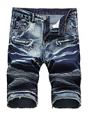 cheap Steel Band Watches-Men's Plus Size Cotton Slim Jeans / Shorts Pants - Solid Colored Ruched Blue / Sports / Spring / Summer
