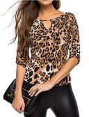 ieftine Tricou-tricou pentru femei - gât rotund leopard