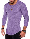 お買い得  メンズTシャツ&タンクトップ-男性用 プラスサイズ Tシャツ ベーシック / 軍隊 ラウンドネック ソリッド コットン パープル XL / 長袖