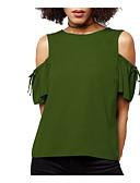 abordables Camisetas para Mujer-Mujer Vintage Borla Camiseta Un Color Blanco y Negro