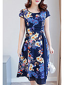 cheap Women's Dresses-Women's Plus Size Slim Sheath Dress - Floral