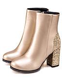 halpa Tyttöjen mekot-Naisten Bootsit Party Heels Paksu korko Terävä kärkinen Paljeteilla PU Nilkkurit Muotisaappaat / Nilkkuri Syystalvi Musta / Hopea / Punainen / Juhlat / Color Block