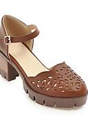 cheap Print Dresses-Women's PU(Polyurethane) Summer Mary Jane Sandals Chunky Heel Round Toe Buckle Gray / Almond / Dark Brown