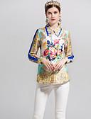 tanie Koszula-Koszula Damskie Aktywny / Podstawowy Wyjściowe Kołnierzyk koszuli Solidne kolory / Geometric Shape