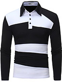cheap Men's Tees & Tank Tops-Men's Cotton Polo - Color Block Shirt Collar / Long Sleeve