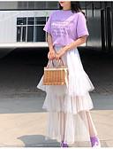 tanie T-shirt-Damskie Puszysta Bawełna Vintage Bufka Zestaw - Frędzel, Solidne kolory Sukienka