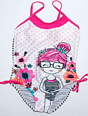 お買い得  女児 スイムウエア-子供 女の子 ビーチ プリント ポリエステル 水着 ピンク