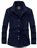 ieftine Tricou Bărbați-Bărbați Mărime Plus Size Cămașă Bumbac Mată / Manșon Lung
