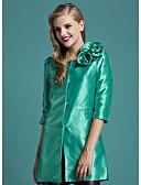 ieftine Curele la Modă-Pentru femei Muncă Regular Palton Piele, Mată Rotund Lungime Manșon 3/4 Poliester Trifoi / Fucsia M / L / XL