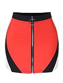 abordables Jupes-Femme Actif Coton Moulante Jupes - Couleur Pleine Noir & rouge, Plissé