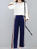baratos Vestidos de Coquetel-Mulheres Activo / Sofisticado Conjunto - Pregueado, Sólido Calça