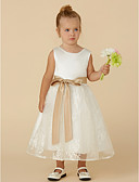 hesapli Çiçekçi Kız Elbiseleri-Prenses Taşlı Yaka Diz Altı Dantelalar / Saten Fiyonk / Kurdeleler ile Çiçekçi Kız Elbisesi tarafından LAN TING BRIDE®