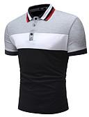 tanie Męskie koszulki polo-Polo Męskie Podstawowy Bawełna Kołnierzyk koszuli Wielokolorowa / Krótki rękaw