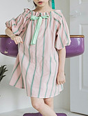 ieftine Seturi Îmbrăcăminte Fete-Copii Fete Dulce Dungi Funde Manșon scurt Sub Genunchi Rochie Alb 140
