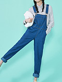 tanie Damskie spodnie-Damskie Aktywny Puszysta Bawełna Kombinezon Spodnie - Pofałdowany, Solidne kolory Niebiesko-biały / Wiosna