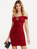 cheap Women's Dresses-Women's Party / Club Sexy Skinny Bodycon Dress - Solid Colored Ruched / Lace up Mini Off Shoulder