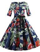 ieftine Regina Vintage-Pentru femei Vintage Swing Rochie - Imprimeu Midi Margaretă