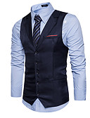 cheap Men's Blazers & Suits-Men's Work Regular Vest, Solid Colored V Neck Sleeveless Polyester Black / Navy Blue / Khaki L / XL / XXL