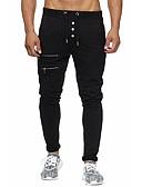 tanie Koszulki i tank topy męskie-Męskie Podstawowy Bawełna Szczupła Typu Chino / Spodnie dresowe Spodnie Solidne kolory