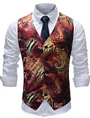 cheap Men's Blazers & Suits-Men's Basic Vest-Print Color Block